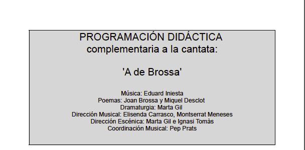 DESARROLLO CURRICULAR DE UN PROGRAMA EDUCATIVO 'A DE BROSSA' AUTORA: MARGARITA CELMA