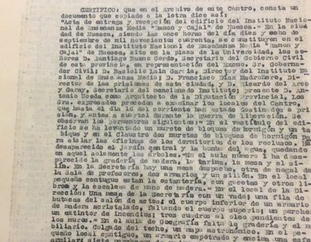 """Acta de entrega del edificio del Instituto """"Ramón y Cajal"""""""