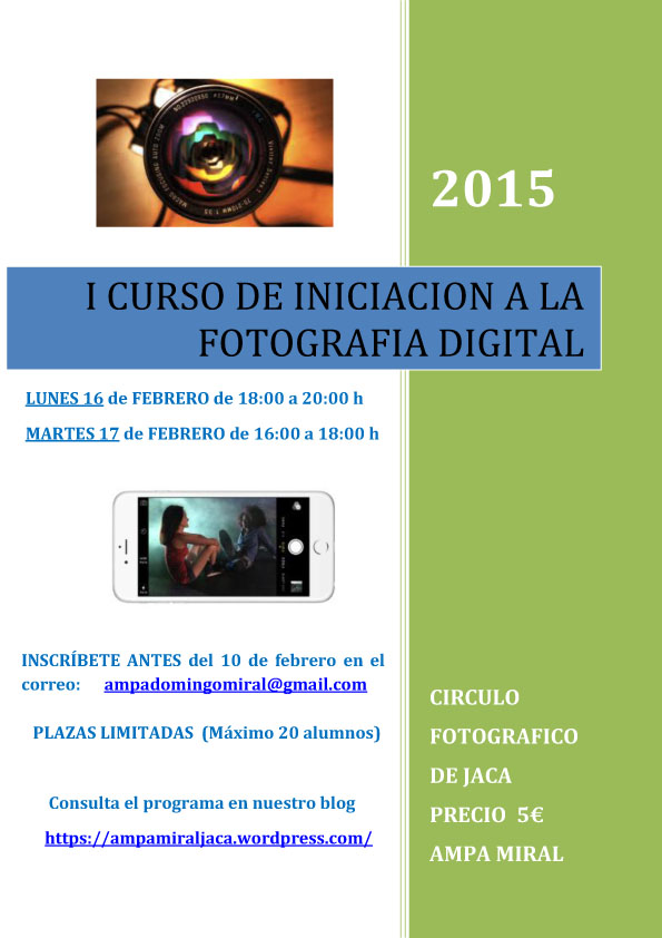 I CURSO DE INICIACION A LA FOTOGRAFIA DIGITAL