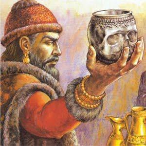 El Jan Krum con la copa hecha del cráneo de Nicéforo I